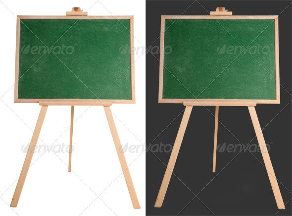 Blank Green Chalkboard - Home & Office Isolated Objects