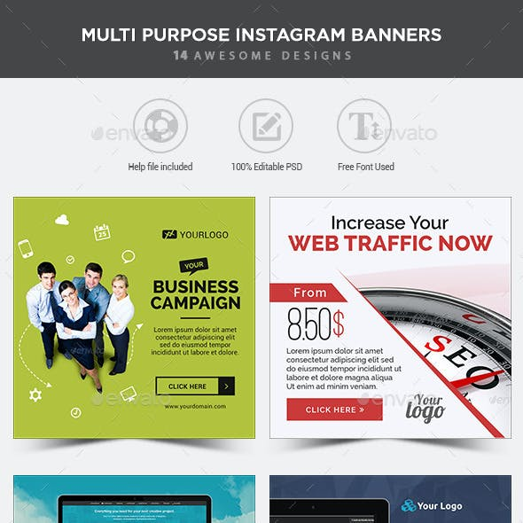 MultiPurpose Instagram Banners - 14 Designs