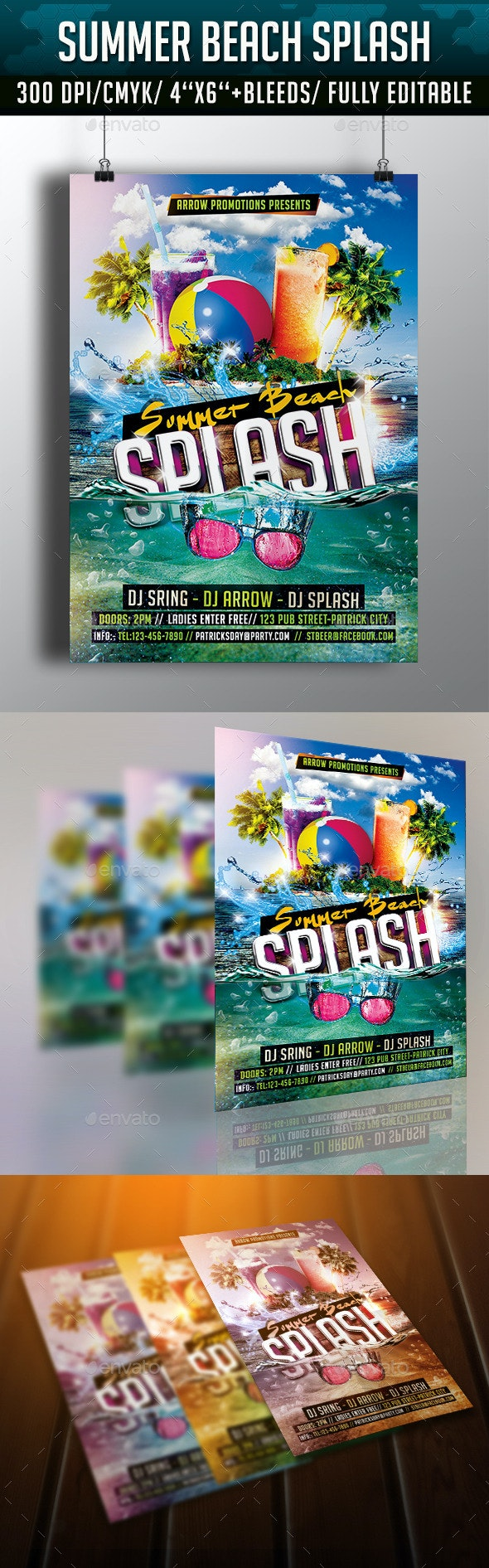 Summer Beach Splash Flyer Template - Clubs & Parties Events