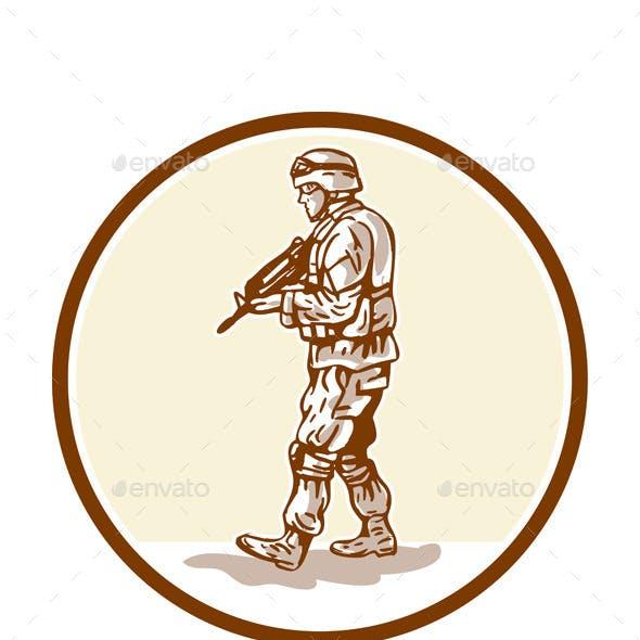 American Soldier Rifle Walking Circle Cartoon