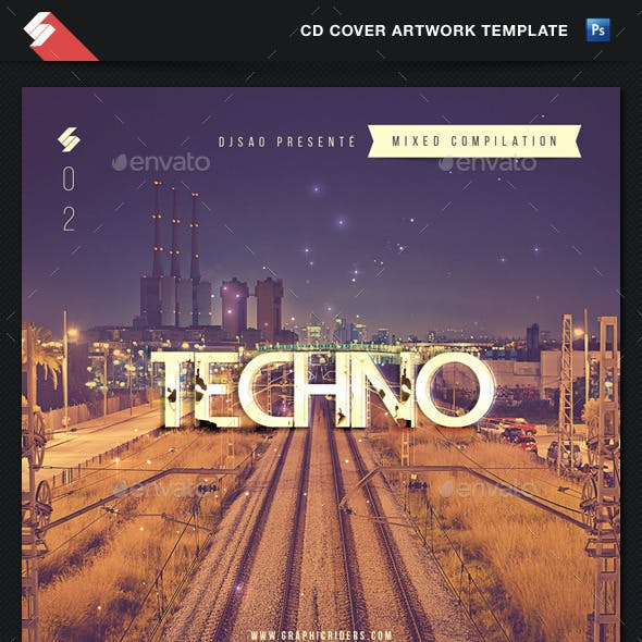 Techno - Mixed Compilation CD Cover Template