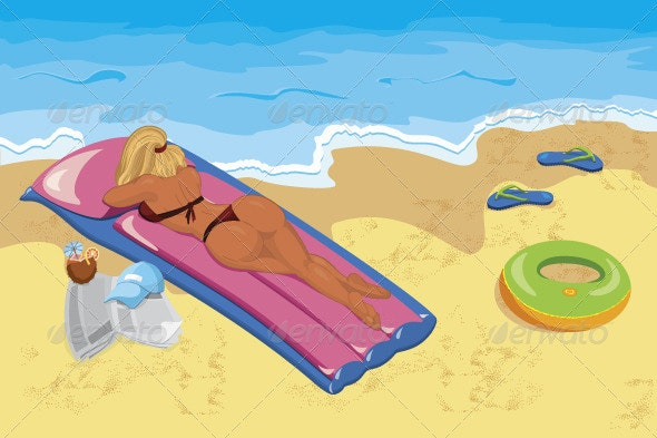 Young woman sunbathing  on the beach - Characters Vectors