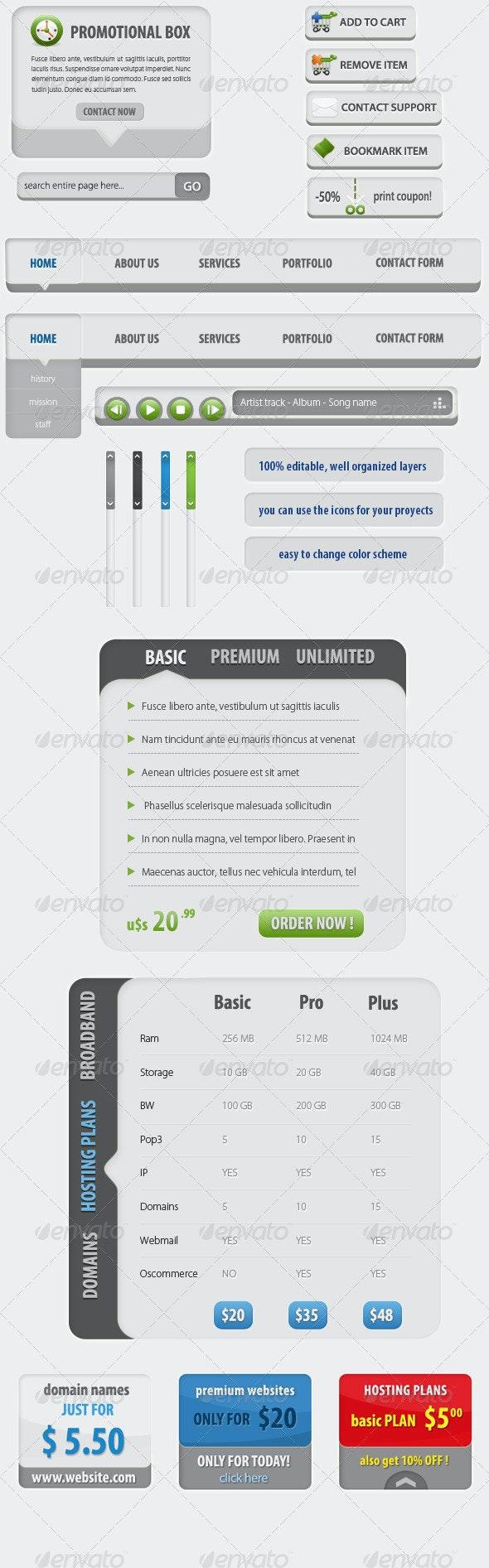 Web Elements KIT - Banners, Boxes, Buttons, Tables - Web Elements