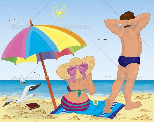 Married couple on the beach under umbrella - Characters Vectors