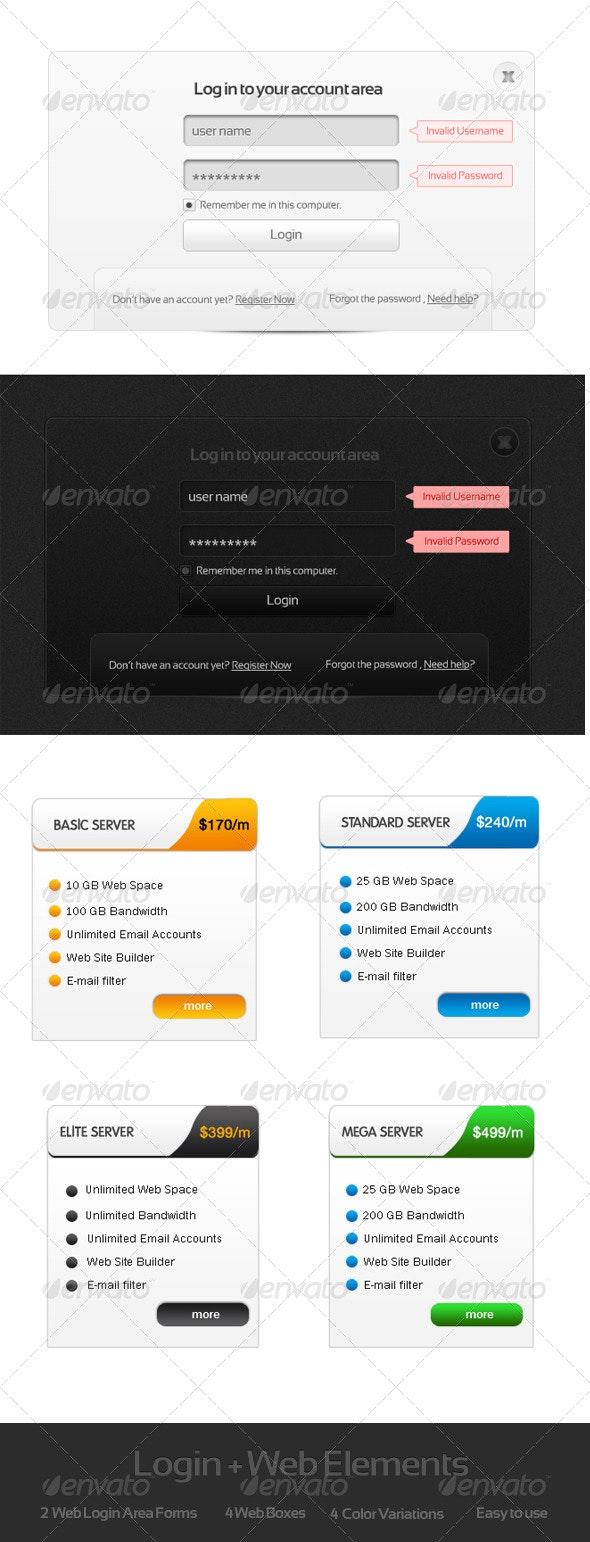 Login + Web boxes - Web Elements