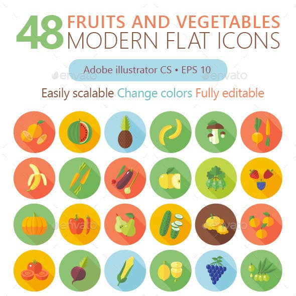 48 Flat Fruits And Vegetables Icons Set