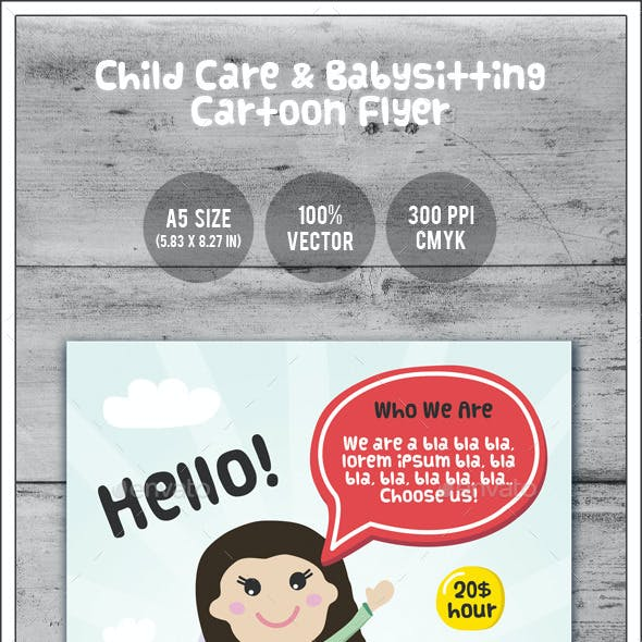 Child Care & Babysitting - Cartoon Flyer