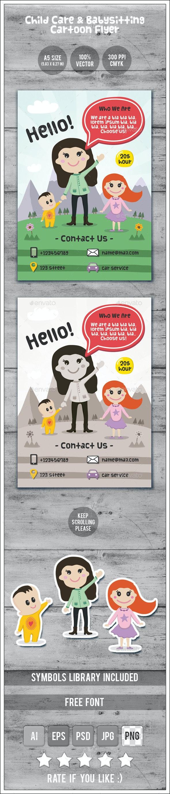 Child Care & Babysitting - Cartoon Flyer - Commerce Flyers