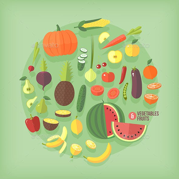 Flat Vector Fruits and Vegetables