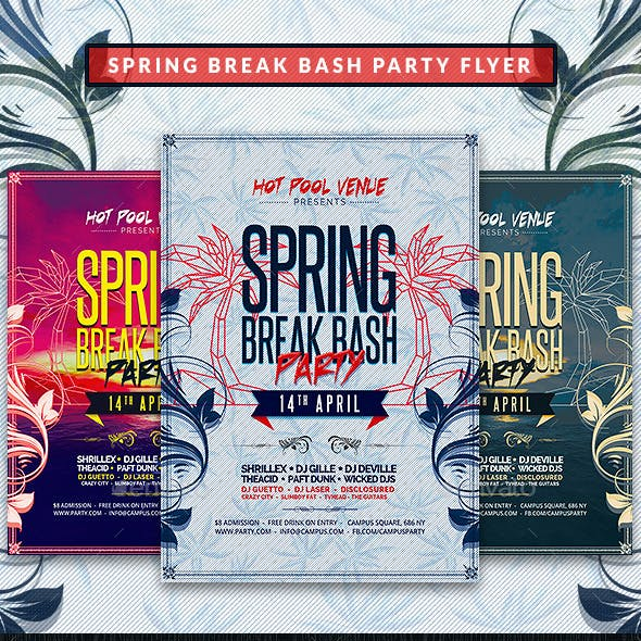 Spring Break Bash Party Flyer