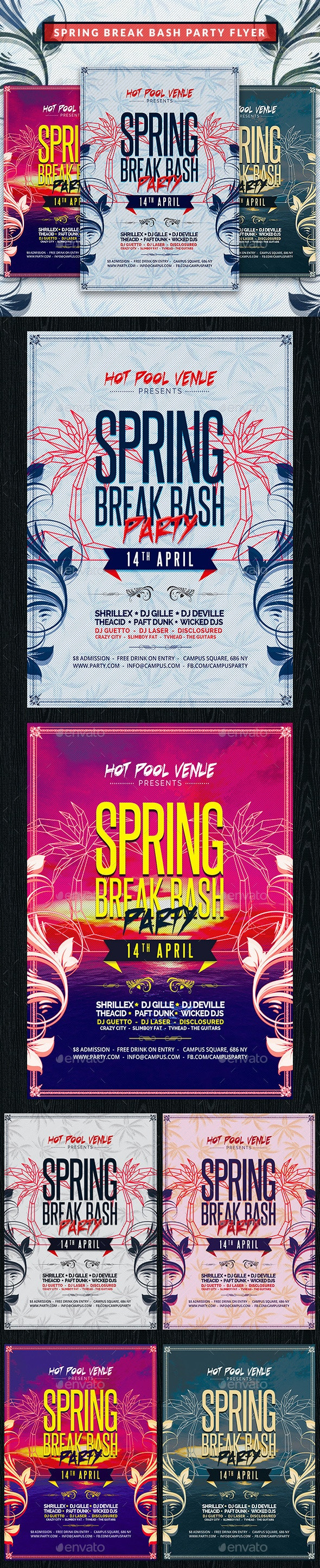 Spring Break Bash Party Flyer - Clubs & Parties Events