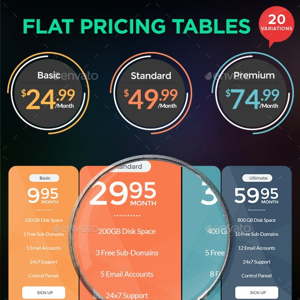 Multi purpose Pricing Tables - 20 Variations