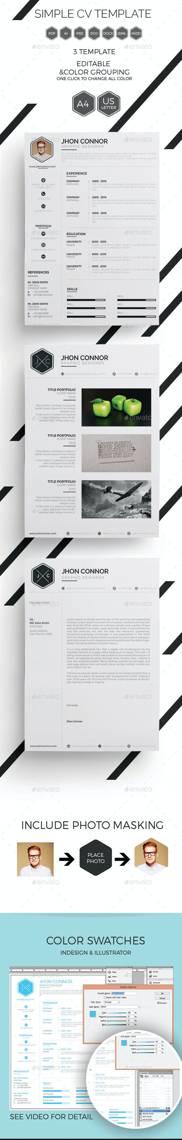 Simple CV Template - Resumes Stationery