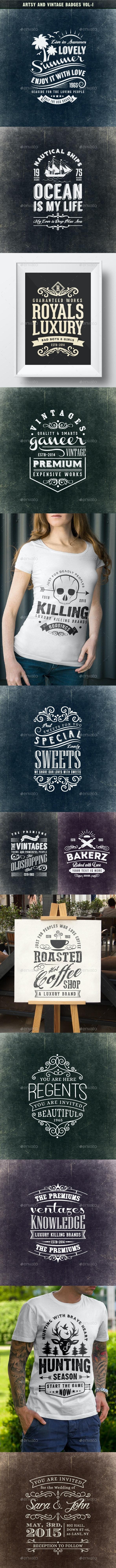 Artsy and Vintage Badges Vol-I - Badges & Stickers Web Elements