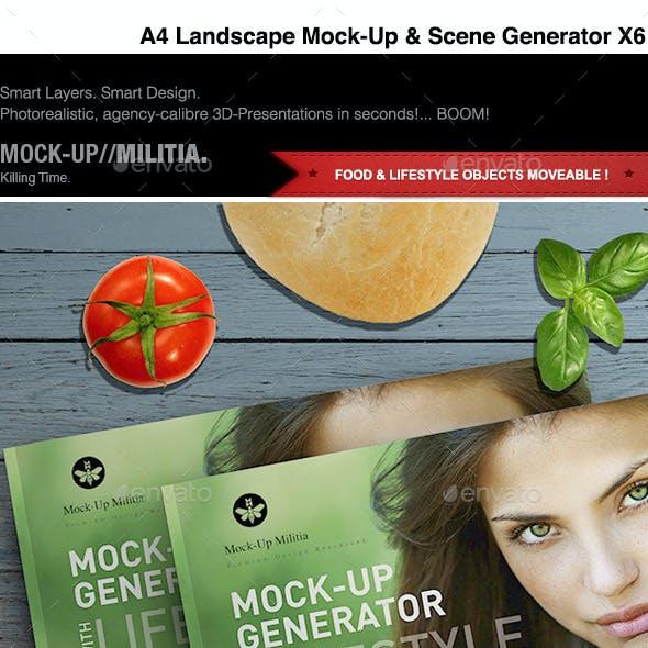 A4 Landscape - Magazine Mock-Up & Scene Generator