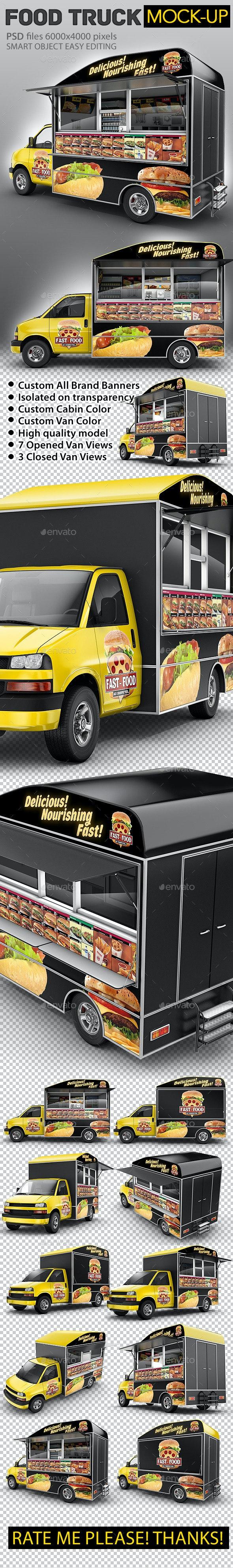 Food Truck Mock-Up. Van eatery mockup. - Vehicle Wraps Print