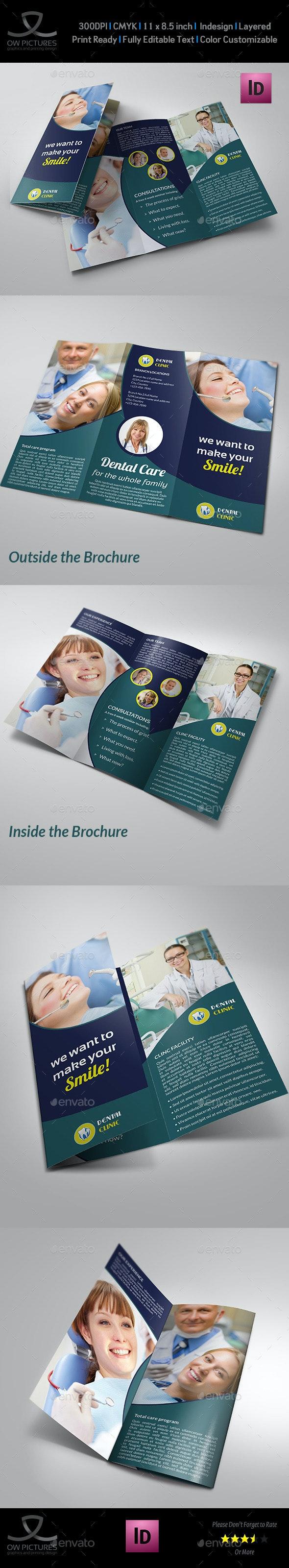Dental Clinic Tri-Fold Brochure Vol.3 - Brochures Print Templates