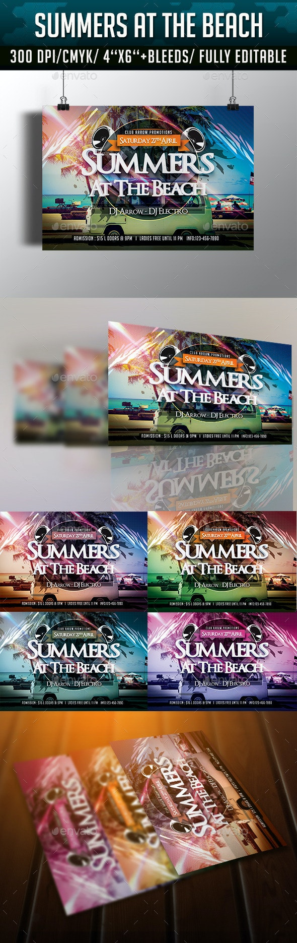 Summers at the Beach Flyer Template - Clubs & Parties Events