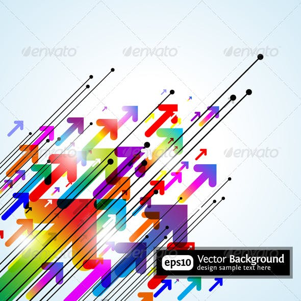 Abstract colored gradient background with arrows