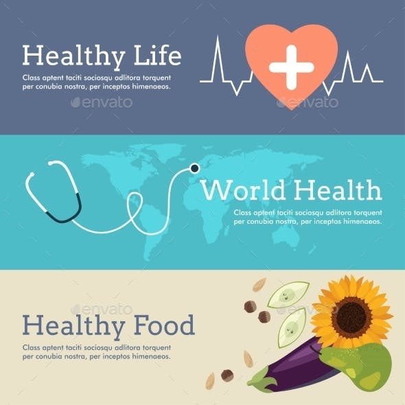Set of Flat Design Concept for World Health Day.
