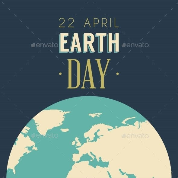Vintage Earth Day Celebrating Card or Poster