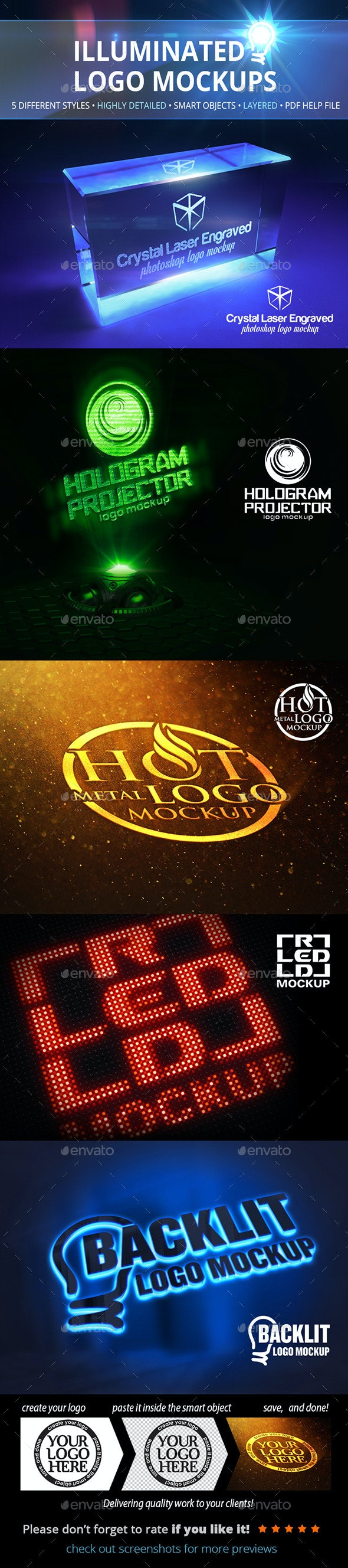 Illuminated Logo Mockups - Logo Product Mock-Ups