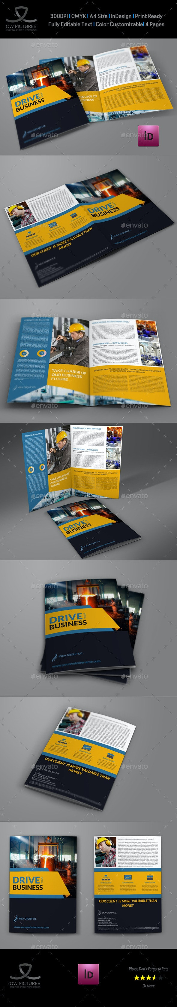 Industrial Company Brochure Bi-Fold Template Vol2 - Brochures Print Templates