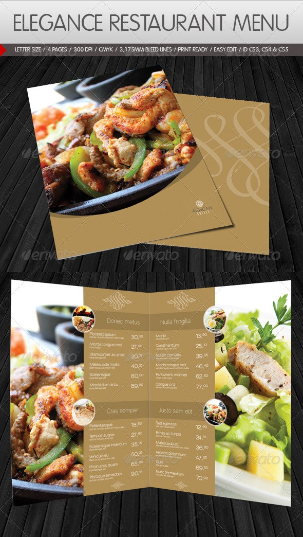 Elegance Restaurant Menu - Food Menus Print Templates