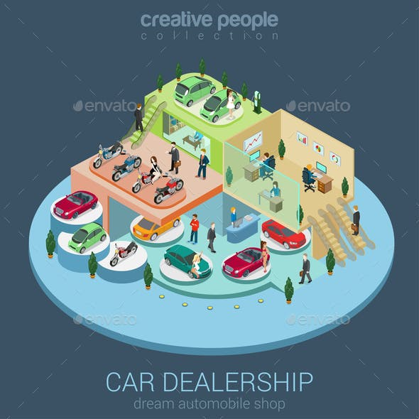 Car Dealership Isometric