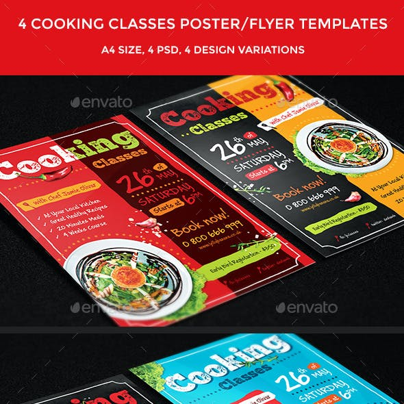 4 Cooking Classes Flyers / Posters