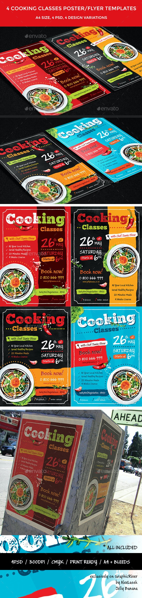 4 Cooking Classes Flyers / Posters  - Corporate Flyers