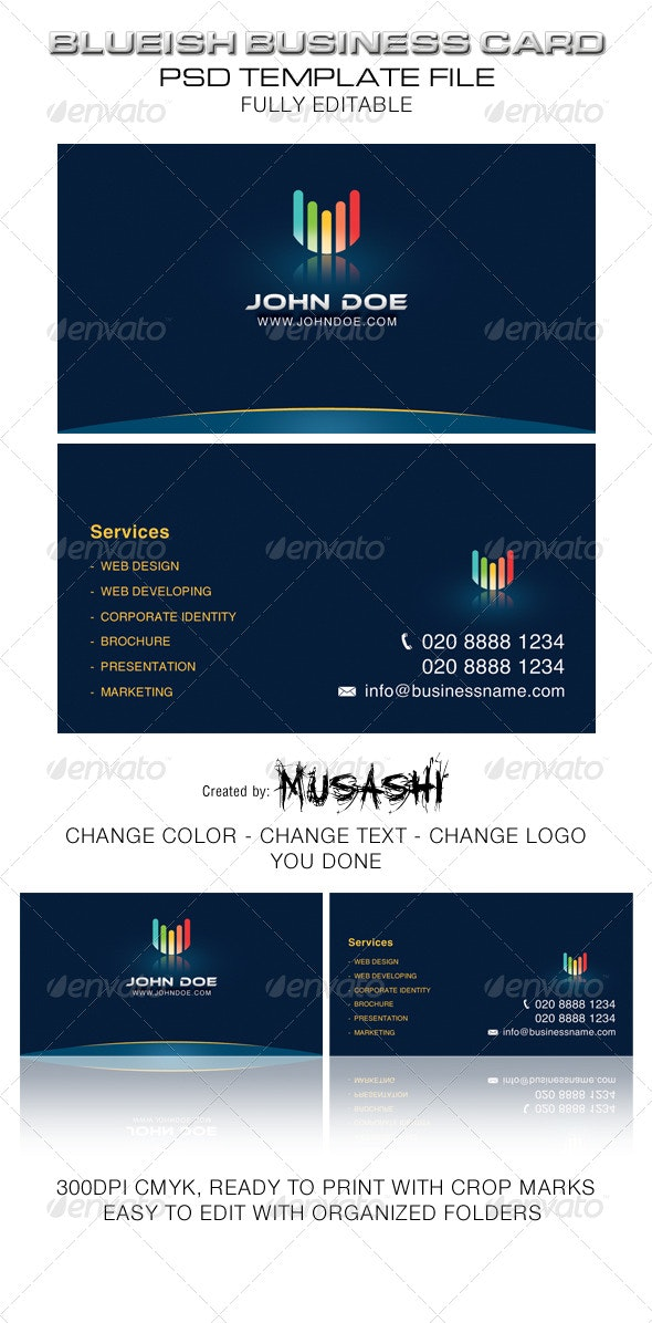 Blueish Business Card - Corporate Business Cards