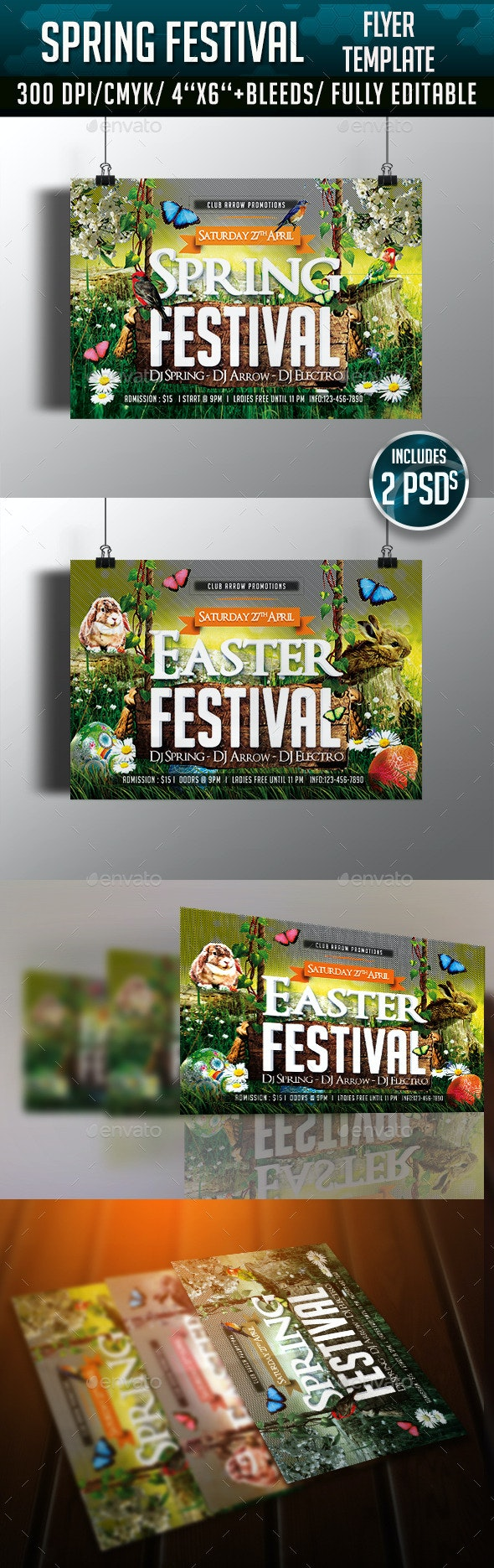 Spring/ Easter Festival Flyer Template - Clubs & Parties Events