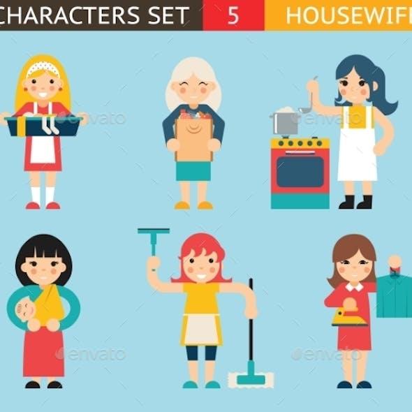 Housewife Characters Icon Set