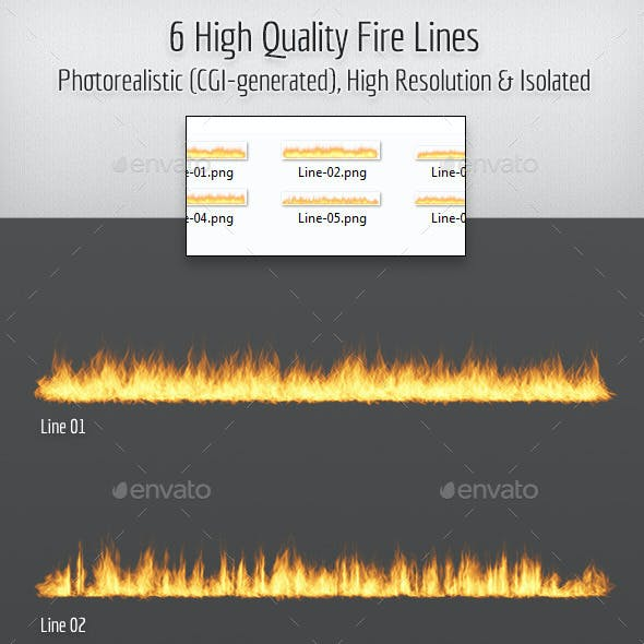 6 High Quality Hi-Res & Isolated CGI Fire Lines
