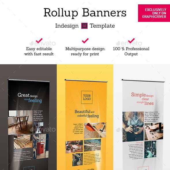 Rollup Stand Banner Display 9x Indesign Template