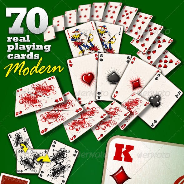 """70 Real Playing Cards """"Modern"""""""
