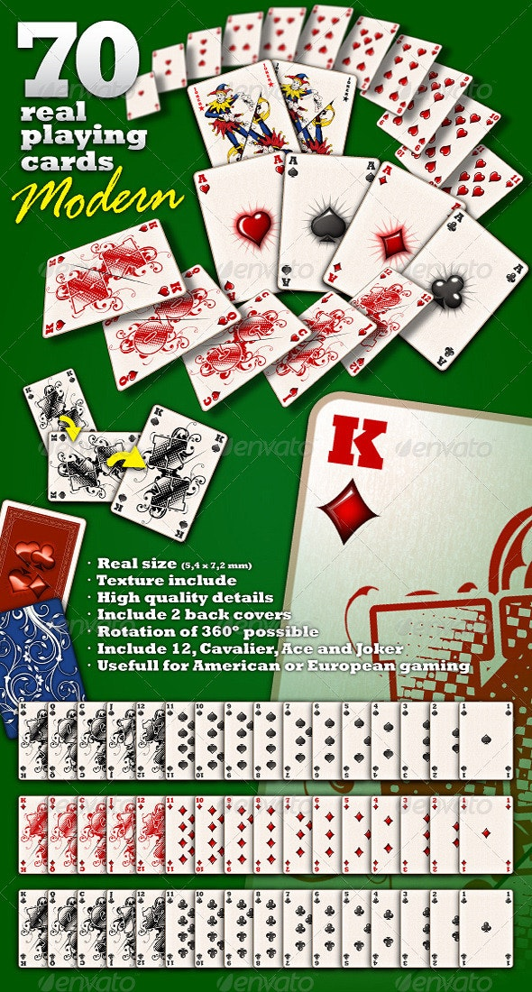 """70 Real Playing Cards """"Modern"""" - Sprites Game Assets"""