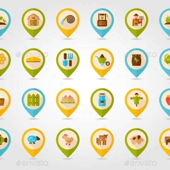 Farm Garden Flat Mapping Pin Icons