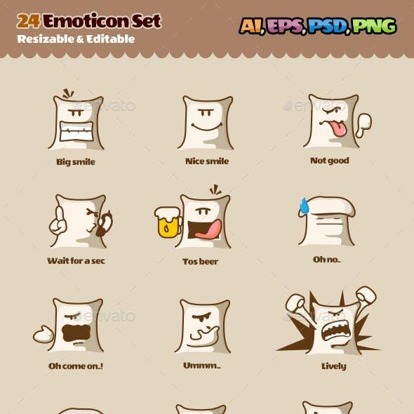 24 Emoticons Set