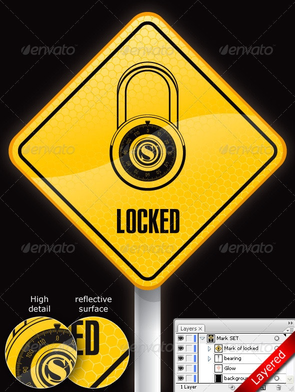 Sign with Lock - Objects Vectors