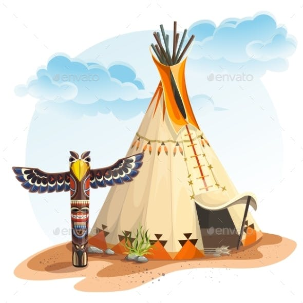 North American Indian Tipi Home with Totem