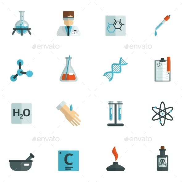 Chemistry Icons Flat