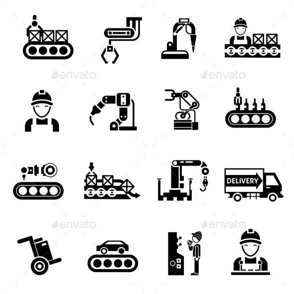 Production Line Icons Black