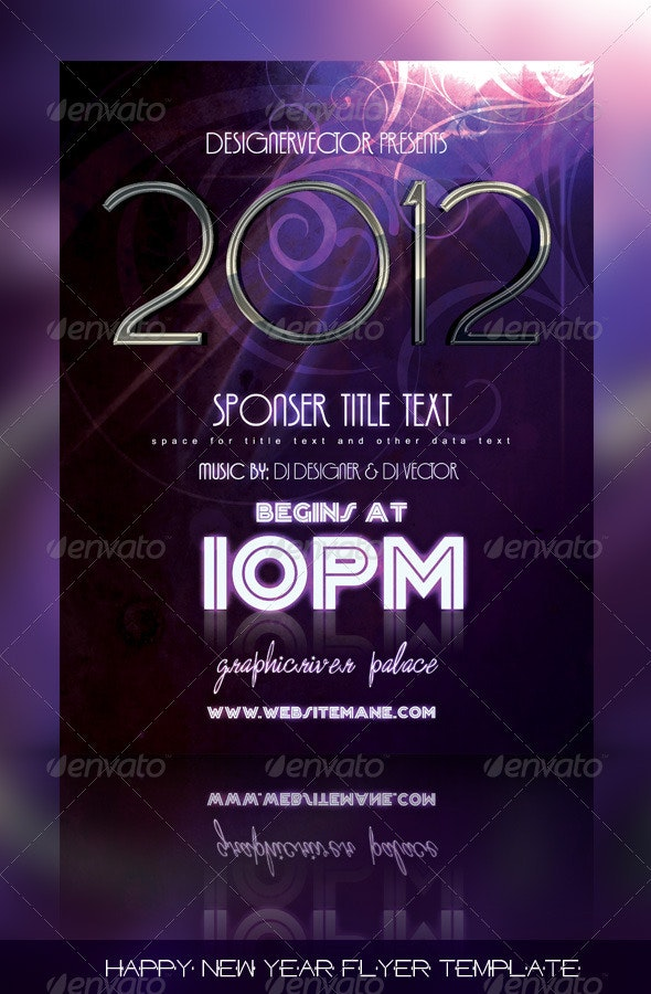 Happy New Year Flyer/Poster Template  - Clubs & Parties Events