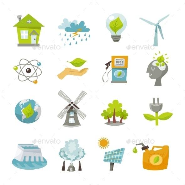 Eco Energy Icons Flat