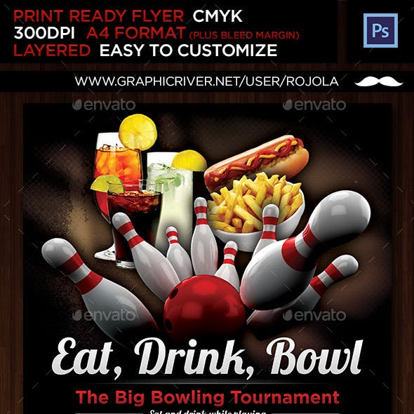 Eat, Drink and Bowl Flyer Template