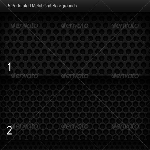 5 Perforated Metal Grid Backgrounds