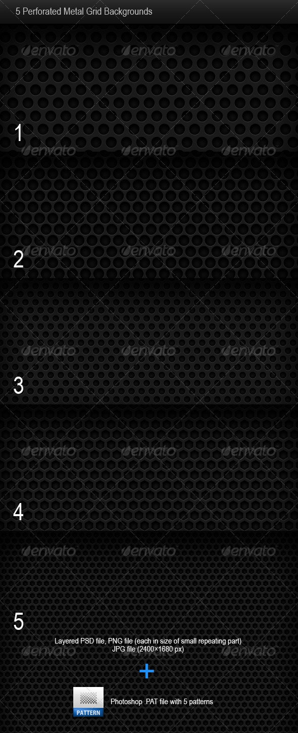 5 Perforated Metal Grid Backgrounds - Backgrounds Graphics