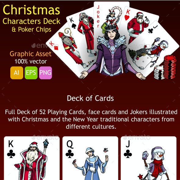Christmas Characters Deck and Poker Chips Graphic